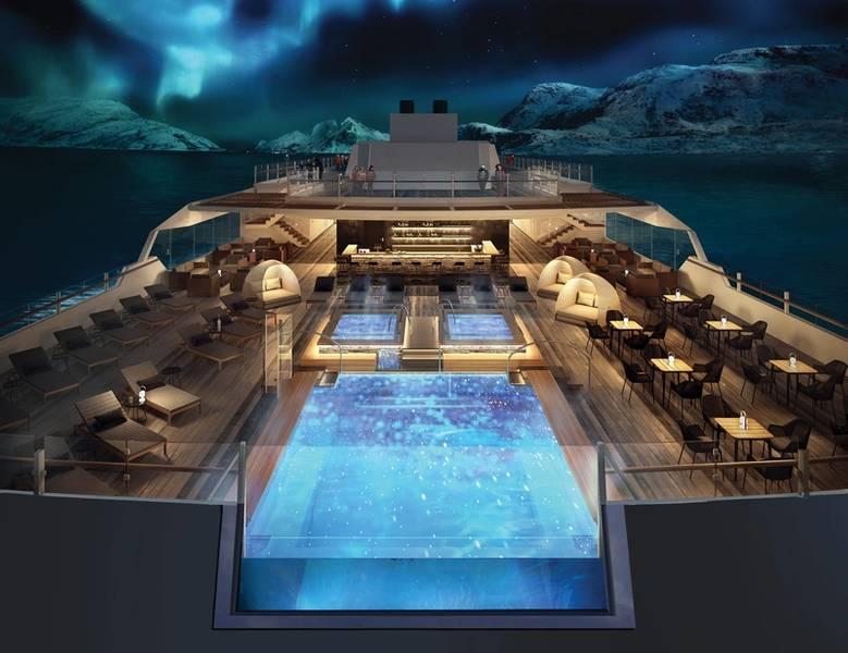 Hurtigruten船只将设有几个观景台,一个无边泳池和一个全景桑拿浴室,以及最上层甲板上的户外按摩浴缸。照片:Hurtigruten