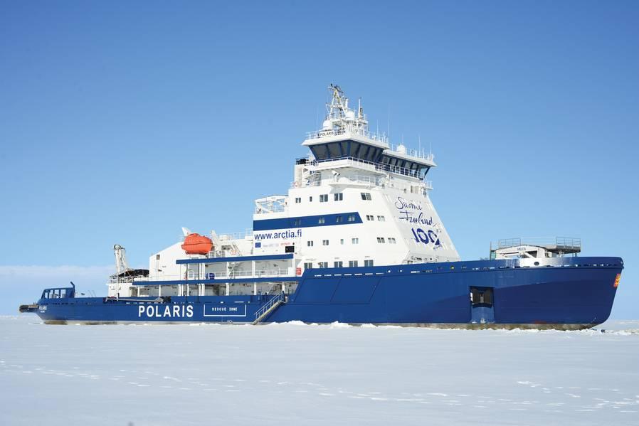 2016年,最新的芬兰破冰船Ib Polaris建造成本为1.23亿欧元。 Arctia有限公司获得了一种LNG燃料双作用PC4级破冰船,能够以3.5节的速度穿透1.8米厚的冰层。照片:Tuomas Romu和Arctia Ltd.