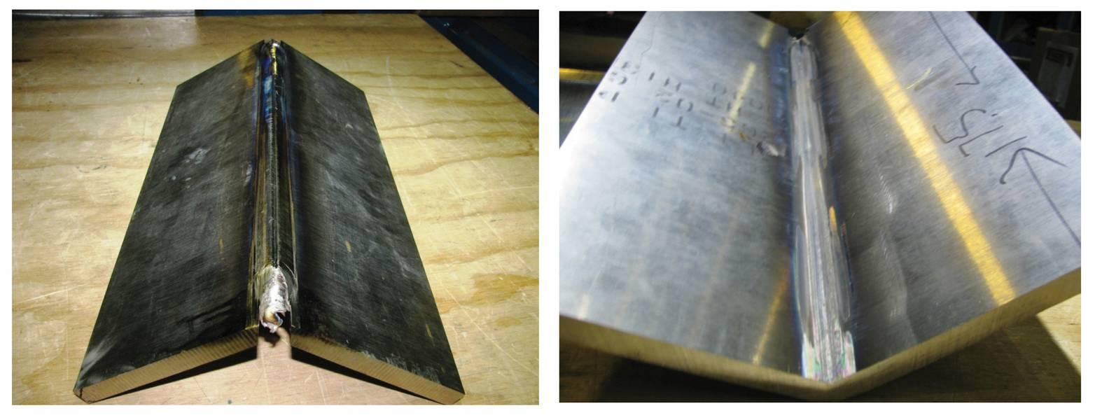图3 CP Ti .500-in厚边角焊缝外部和内部。图片:美国宇航局