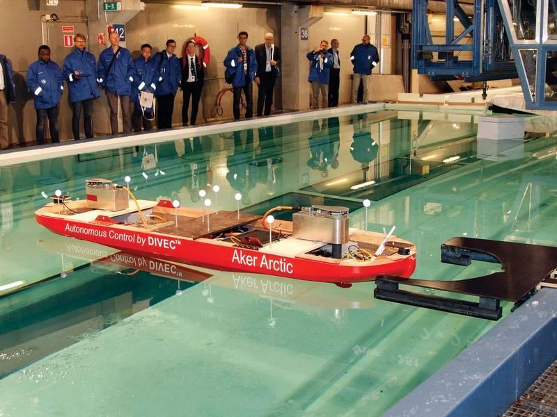 Aker Arctic的自动船测试。