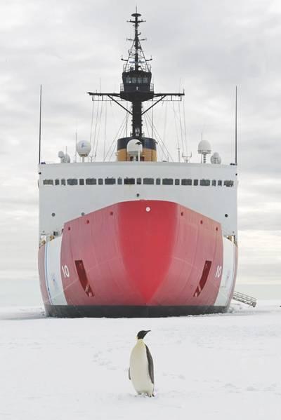 """2018年1月10日,星期三,一只帝王企鹅在南极洲附近麦克默多湾的海岸警卫队刀具极地之星前合影。西雅图极地之星的机组人员正前往南极,以支持""""深空行动""""冻结2018年,这是美国军方对美国国家科学基金会管理的美国南极计划的贡献。美国海岸警卫队首席琐事官Nick Ameen摄。"""