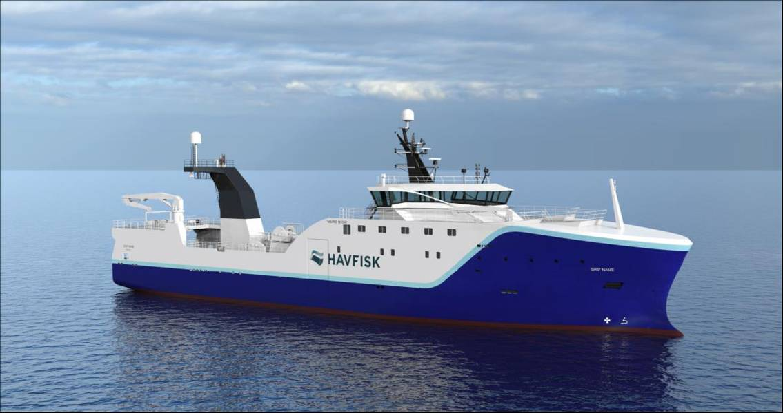 Arrastrero de popa para HAVFISK- longitud total 80 m ancho aprox. 17 m Stern trawler Photo Vard