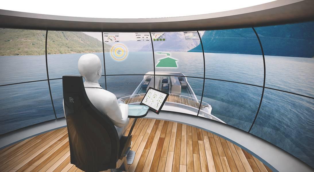 DNV GL Virtual Bridge Navios de carga sem superestrutura poderiam um dia ser controlados a partir de uma ponte virtual em terra. (Foto cedida por DNV GL / Rolls-Royce)