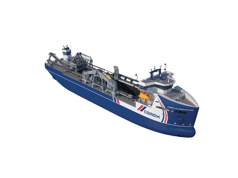 Damen目前正在为CEMEX UK建造一艘首创的海洋骨料挖泥船(图片来源:Damen)