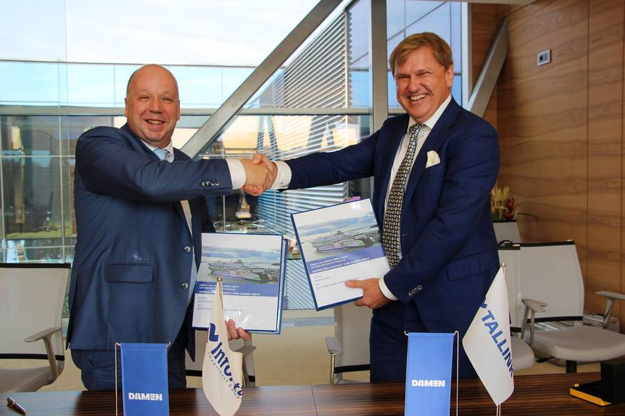 Damen Shipyards集团东欧销售经理Peter Anssems与Eesti Gaas监事会主席Ain Hanschmidt(照片:Damen)
