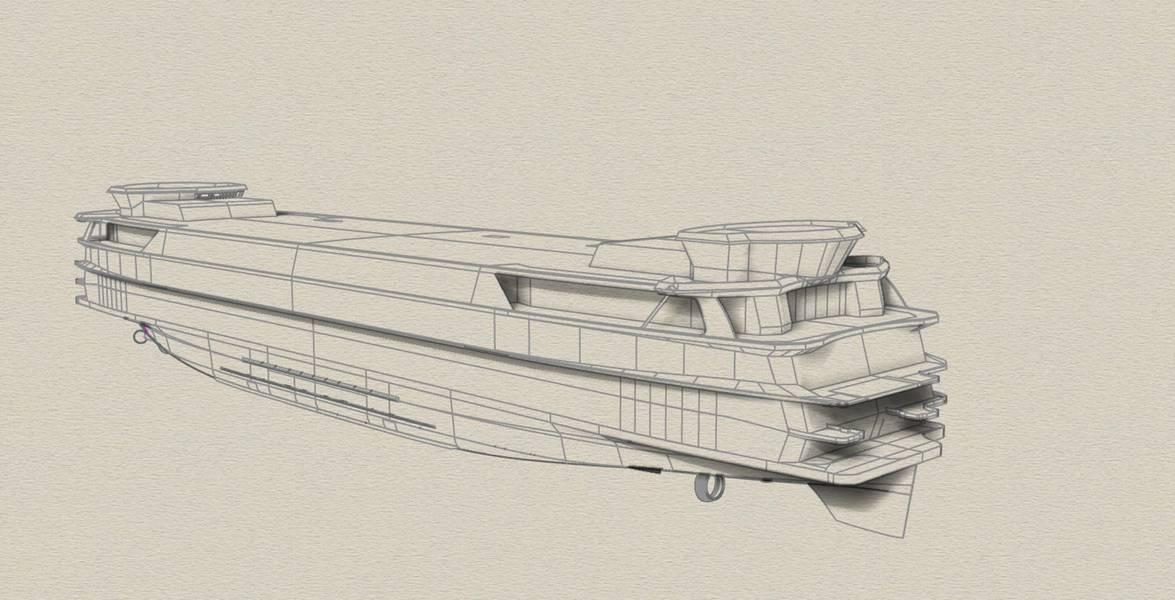 Desenhos do inovador TESO Ferry Texelstroom. Imagem cedida por C-Job
