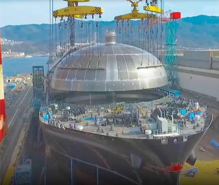 Diamond Gas Orchid em construção. Foto: Mitsubishi Shipbuilding Co.