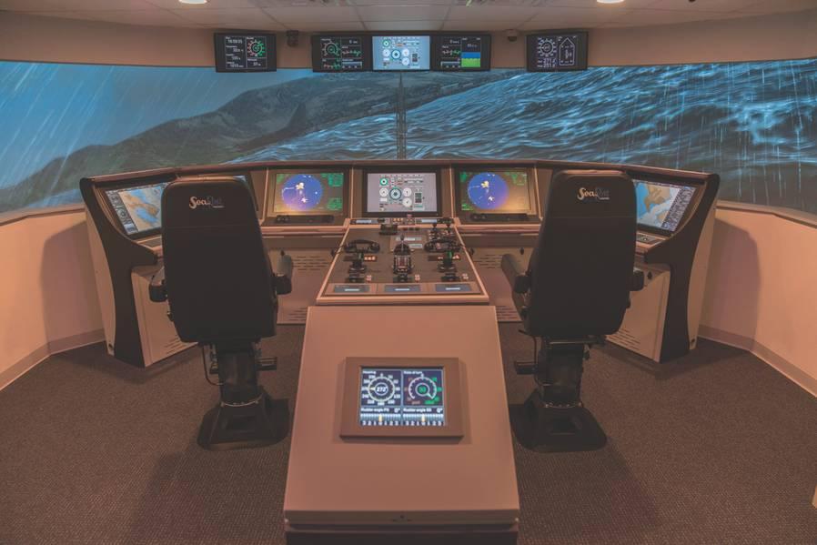 Die Resolve-Trainingsakademie verfügt über einen vollständigen Navigations-Simulator der Klasse NT Pro 5000 mit 220 Grad FOV auf der Hauptsimulation und 220 auf dem Brückenflügel, einem Brückenflügel, der Backbord oder Steuerbord docken kann. (Foto: Resolve Trainng Academy)