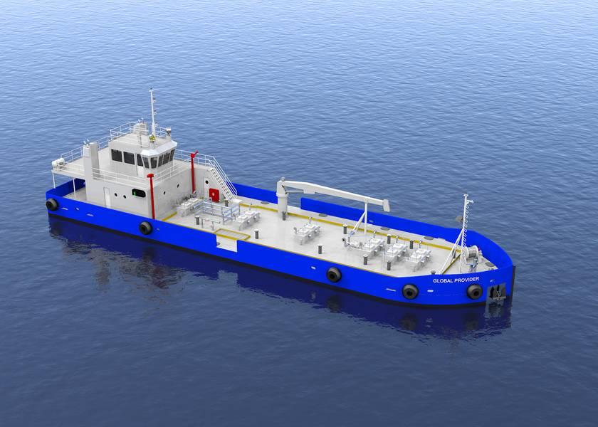 Ein Rendering des neuen Bunkerschiffs Global Provider, entworfen von der Elliott Bay Design Group (Bild: EBDG)