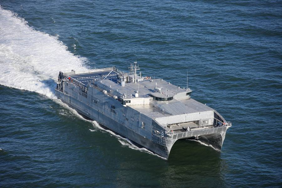 Ein US-amerikanischer USNS EPF auf See. Credit Austal