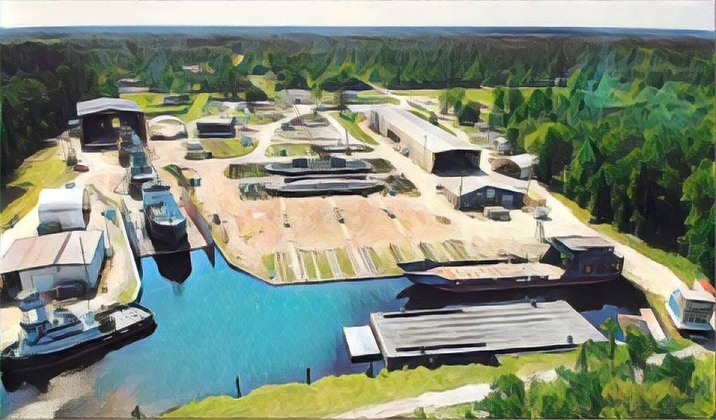 Eine Luftaufnahme des St. Johns Shipbuilding-Komplexes