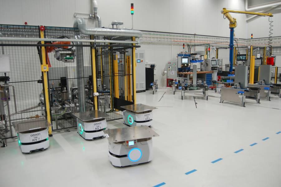 Estilo Amazon: los robots proveedores prestan servicio al equipo de ensamblaje de robots. Crédito: William Stoichevski