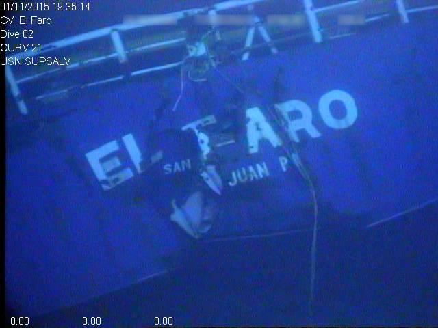 El Faro在海底的残骸(照片:NTSB)