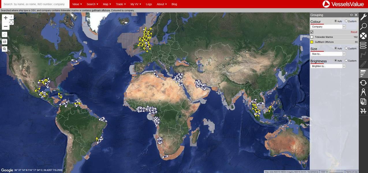 Globale Abdeckung von GulfMark und Tidewater (Credit VesselsValue)