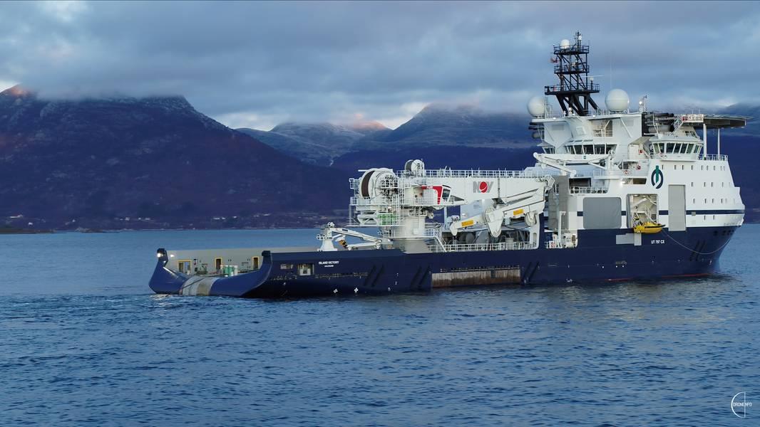 Island Offshore hat heute bei VARD Langsten Island Victory, ein neues Offshore-Installationsschiff, übernommen. Foto: Insel Offshore / Droneinfo