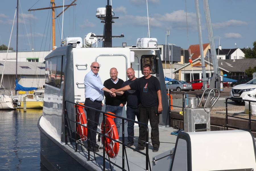 Kjetil Nygaard, ProZero Noruega; Karl Johan Ferkingstad, Servicio Marítimo Akva; Jarle Birkeland, Servicio Marítimo de Akva; y Jakob Frost, Tuco Marine. (Foto: Tuco Marine)