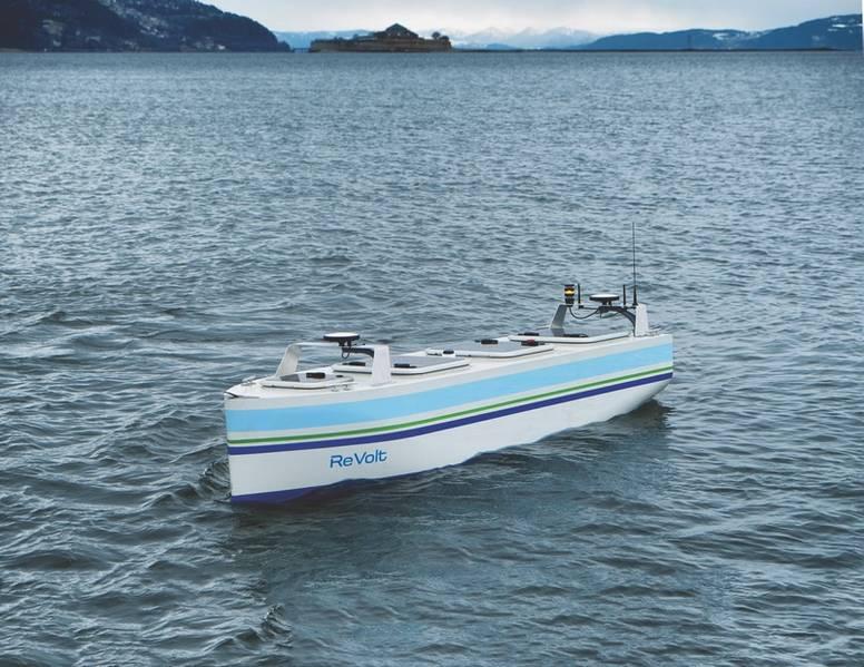 Los investigadores de NTNU utilizan la maqueta experimental del buque no tripulado ReVolt modelo DNV GL para ensayos. (Foto cortesía de DNV GL)