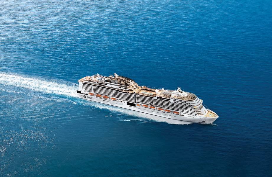 A MSC Cruzeiros, a maior empresa privada do setor, está no meio de uma expansão de US $ 13 bilhões que levará sua frota, após a entrega do MSC Meraviglia em 2017, para 25 navios até meados da década de 2020. Ainda sob encomenda estão quatro naves da classe Meraviglia. Foto: MSC
