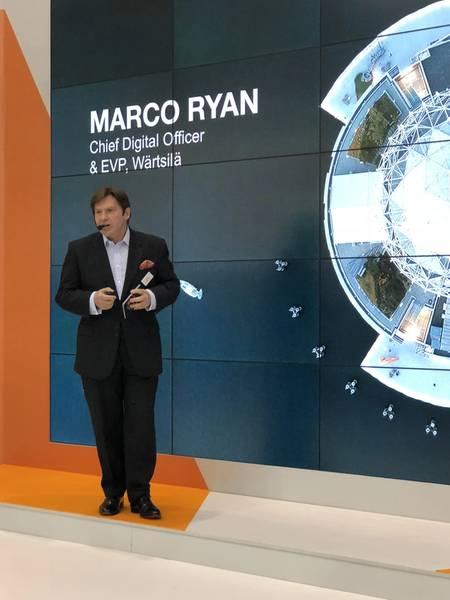 Ο Marco Ryan, Διευθύνων Ψηφιακός Διευθυντής της Wärtsilä, συζητά τον ψηφιακό μετασχηματισμό της εταιρίας μηχανικής, καθώς και την επένδυσή της στην «ωκεάνια αφύπνιση» και την ηγεσία της στο πρόγραμμα SEA20. (Φωτογραφία: Greg Trauthwein)