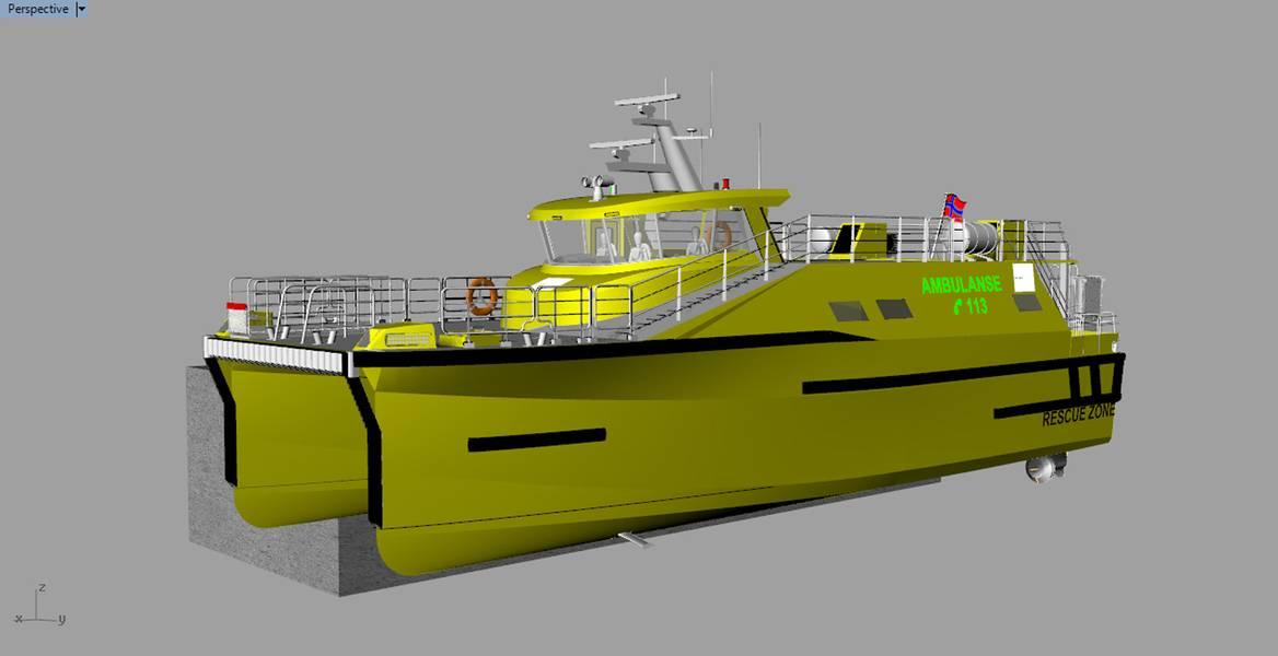 Novo design: um design vencedor de embarcação de ambulância mostrando películas decisivas implantadas. Crédito: Wavefoil