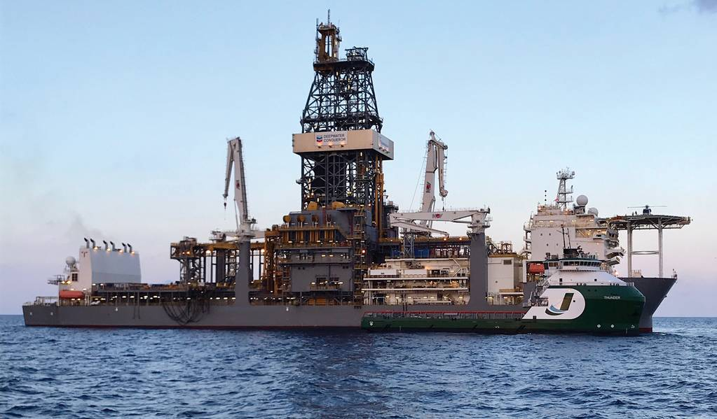 """OSV """"THUNDER"""", propiedad de Jackson Offshore al servicio del flotador """"DEEPWATER CONQUERER"""" Fuente: Jackson Offshore"""