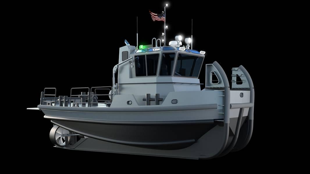 Rendering zeigt Schlepper über und unter der Wasserlinie (Bild mit freundlicher Genehmigung der US Navy)