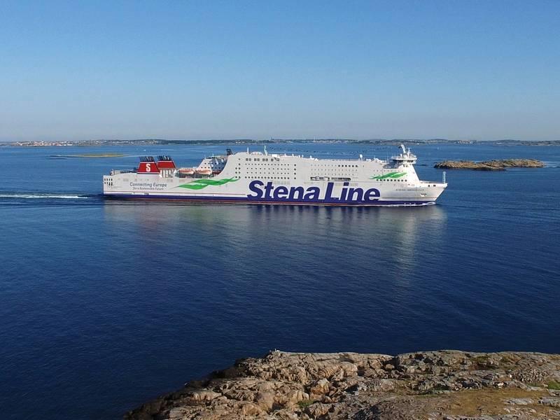 RoPax-Schiff Stena Germanica. Route: Göteborg - Kiel. Foto mit freundlicher Genehmigung von Stena Line. Fotograf: Ann-Charlotte Ytterberg / Drohne Pilot: Robert Nyström