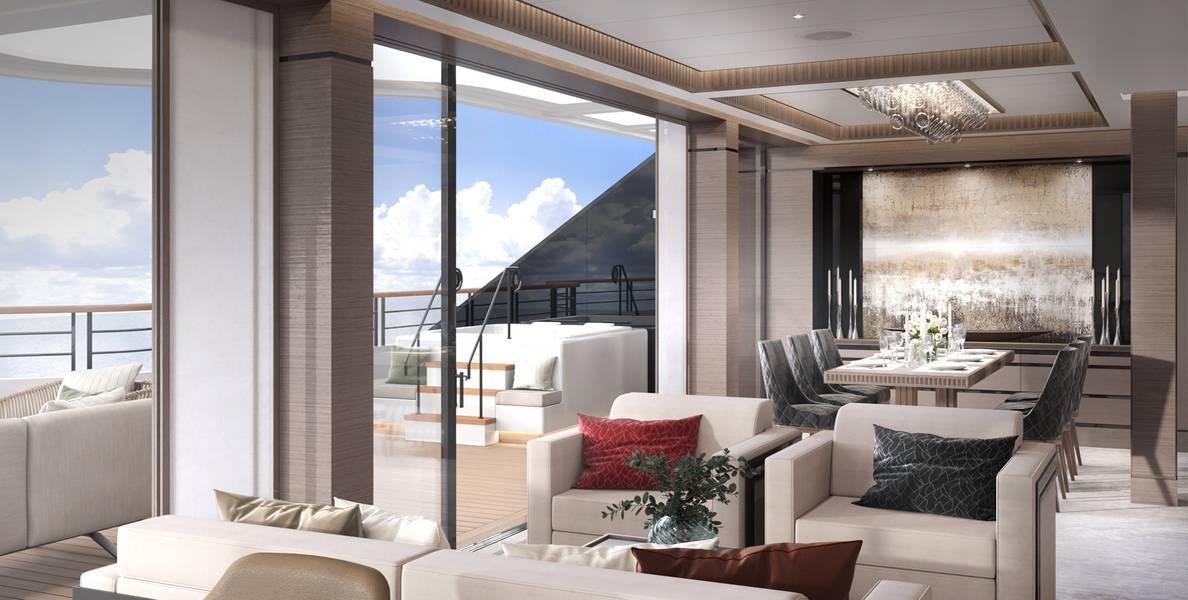 Sala de estar de la suite del propietario. Crédito de la foto: The Ritz Carlton Yacht Collection.