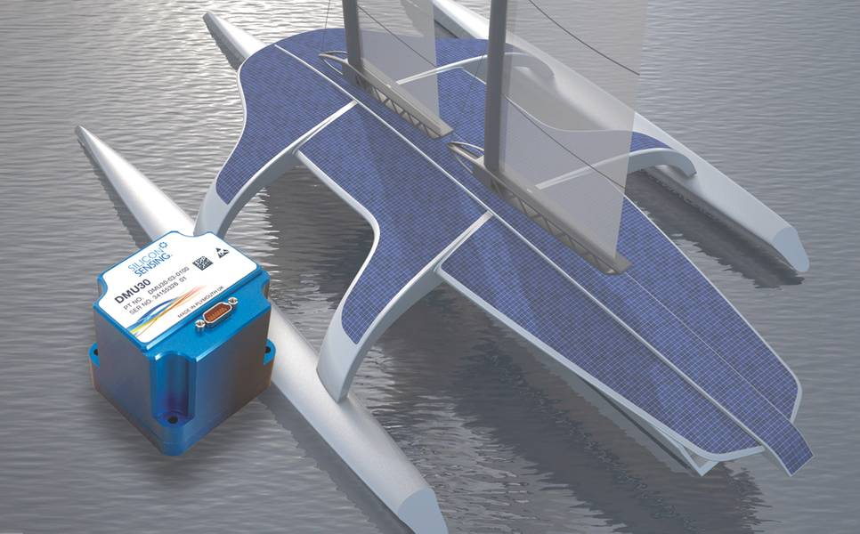 Silicon Sensing DMU30: Η εντύπωση ενός καλλιτέχνη για το αυτόνομο πλοίο MAS 400 με την ένθετη νέα μονάδα μέτρησης αδρανείας DMU30 που είναι 68,5 x 61,5 x 65,5 mm. (Φωτογραφία ευγένεια Silicon Sensing)