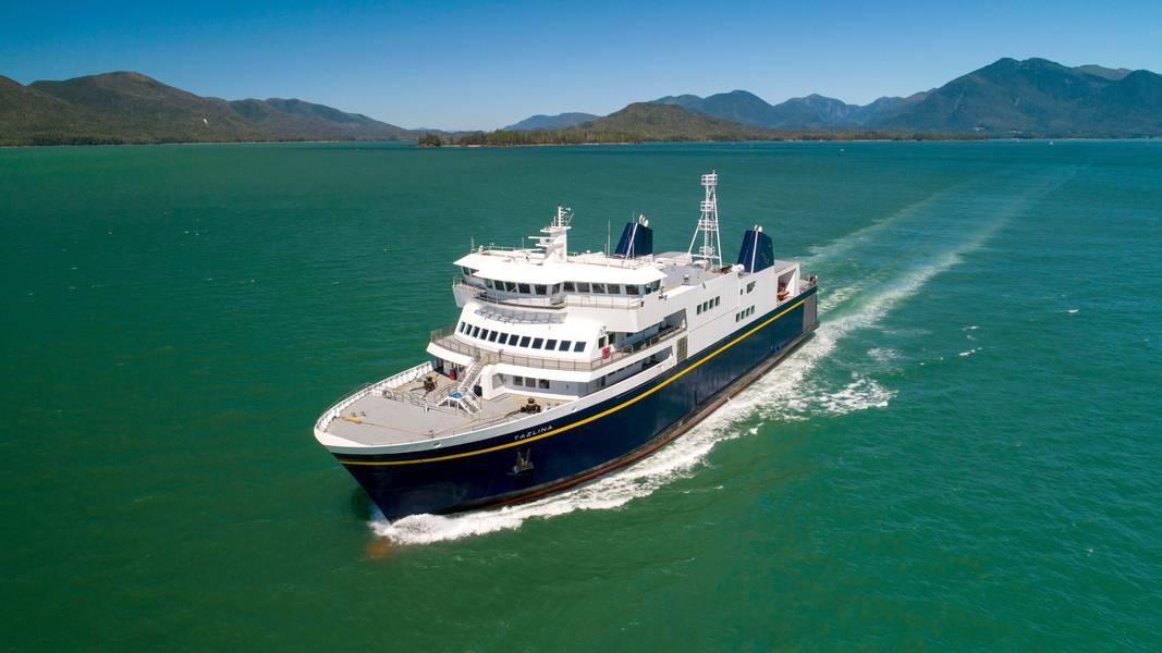 """O Tazlina, uma das muitas balsas do Alaska Marine Highway System, atrapalhou - incomodando muito o público em geral - com a greve sindical de nove dias; um que foi caracterizado como """"ilegal"""" pela administração do governador Mike Dunleavy. Imagem: Vigor / Estado do Alasca"""