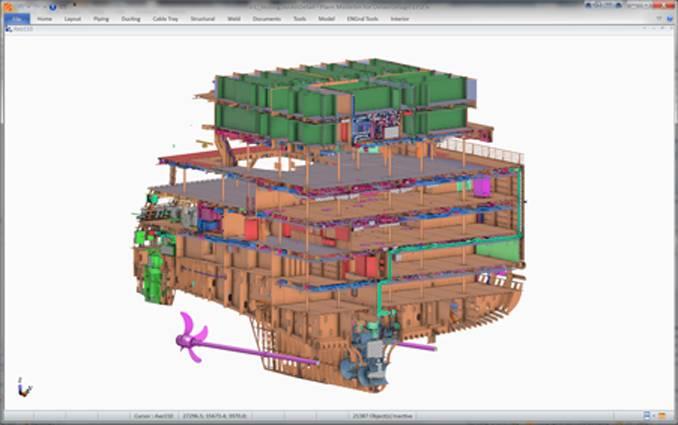 Teil eines Meyer-Schiffsmodells mit CADAMATIC-Ausstattung (Bild: CADMATIC)