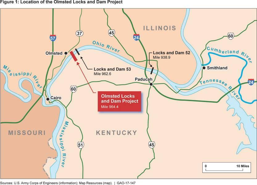 USACE对Olmsted锁区基础设施的渲染(图片来源:US GAO)