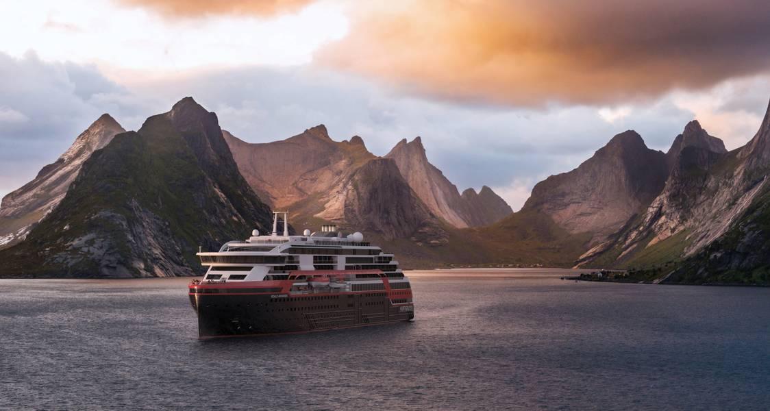 Uma impressão do MS Roald Amundsen cruzando os fiordes da Noruega. O navio deve ser entregue ainda este ano. Graphic cortesia de Hurtigruten