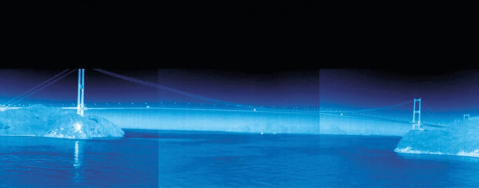Uma tela demonstrando como o sistema transforma a noite em dia, tirada do teste a bordo do Sunflower Gold (Imagem: Rolls-Royce)