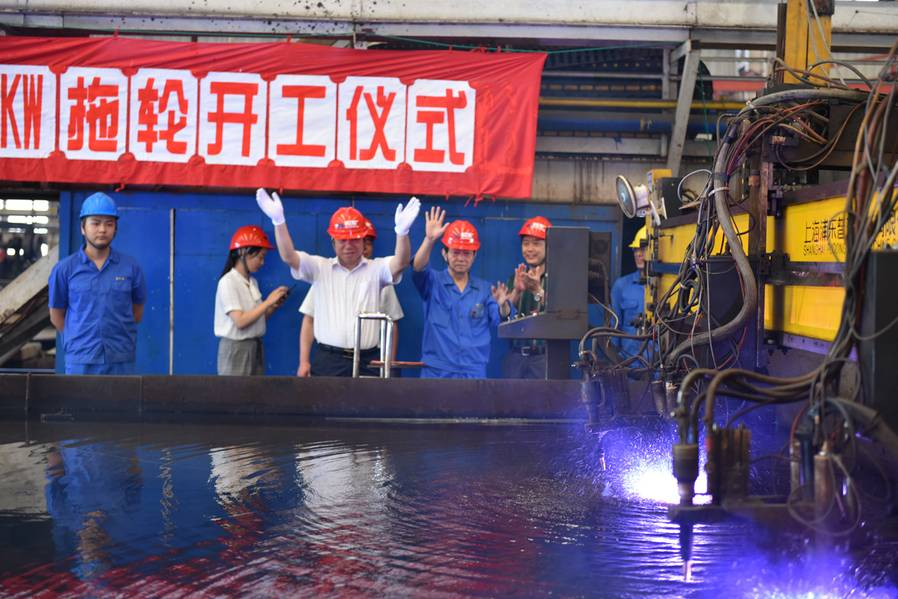 Una ceremonia de corte de acero en el astillero Jiangsu Zhenjiang (Foto: Robert Allan Ltd.)