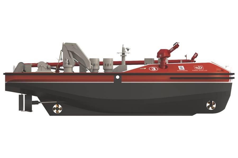 El barco de bomberos RALamander 2000 desatornillado mantendrá a los bomberos marinos a una distancia segura. (Foto cortesía de Kongsberg Maritime)
