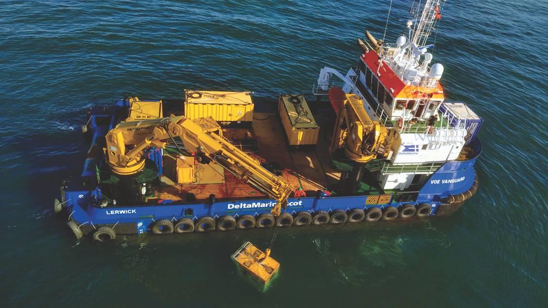 El barco de servicio renovable diseñado a medida Voe Vanguard es capaz de dar servicio no solo a parques eólicos, sino también a una amplia gama de otras actividades con sus grúas articuladas telescópicas y articuladas HS.MARINE. (Foto suministrada por HS.MARINE / Damen Shipyard)