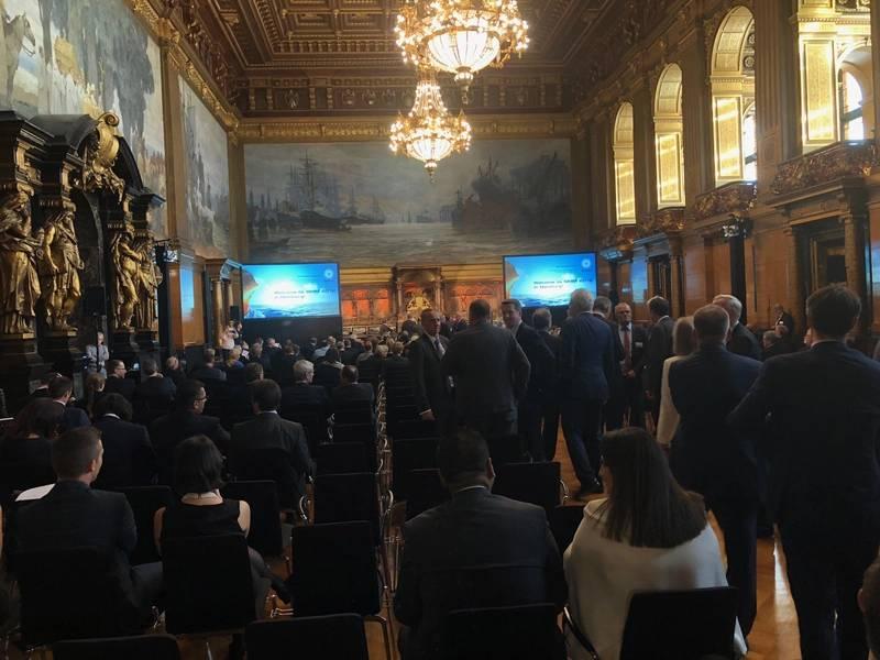 A cerimônia de abertura do SMM 2018 na histórica Prefeitura de Hamburgo. Foto: Greg Trauthwein