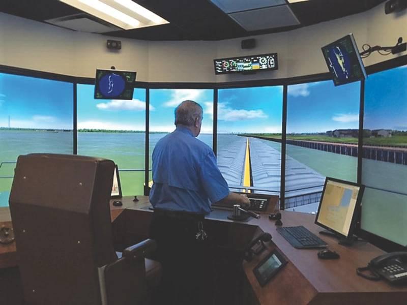 Um dos muitos cenários 'push ahead' que os marinheiros podem experimentar no simulador Delgado.