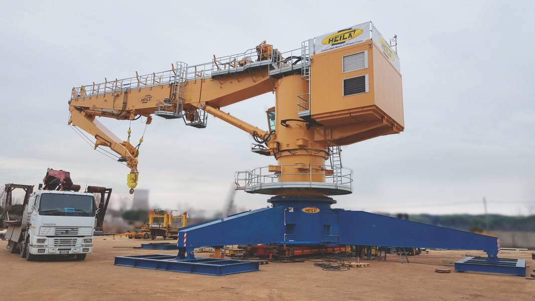A entrega do guindaste principal HR 2050 / 35-2BJ da Heila Cranes a ser instalado no navio de pesquisa polar Sir David Attenborough é esperada em breve. (Foto cortesia de Heila Cranes SpA)