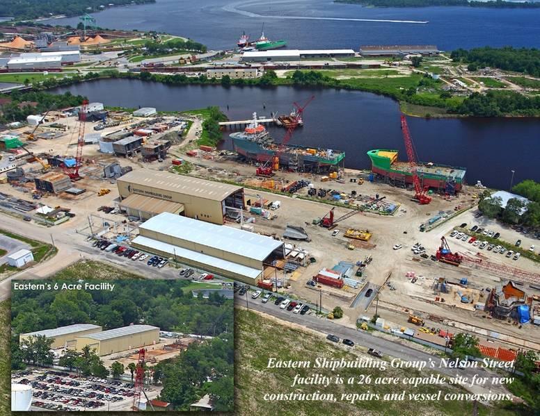 A instalação de construção naval ESG Nelson como aparecia antes da tempestade. A Eastern prometeu reconstruir ambas as suas instalações de construção naval com capacidade total.
