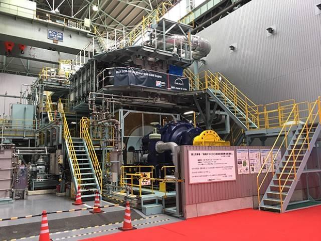 O mecanismo de teste Mitsui-MAN B & W 4S50ME-T9 que hospeda a nova tecnologia MAN SCR-HP (Foto: MAN Energy Solutions)