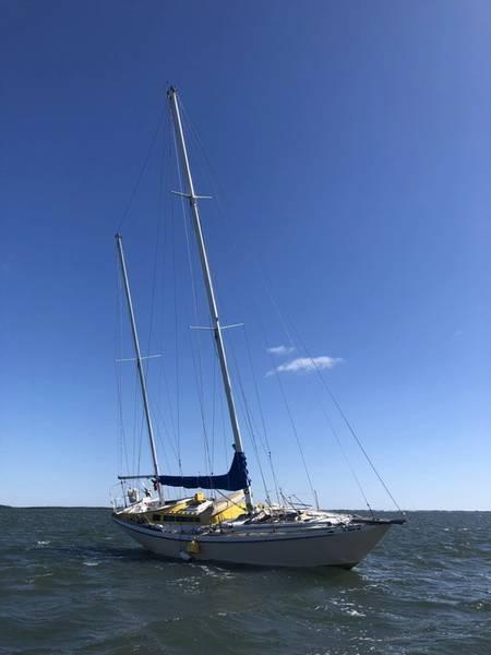 Un velero de 45 pies se encuentra encallado en Crystal River, el lunes 16 de abril de 2018. Un barco de Yankeetown de la Estación de la Guardia Costera rescató a Jack Baird, de 76 años, del velero. (Foto de la Guardia Costera de los Estados Unidos