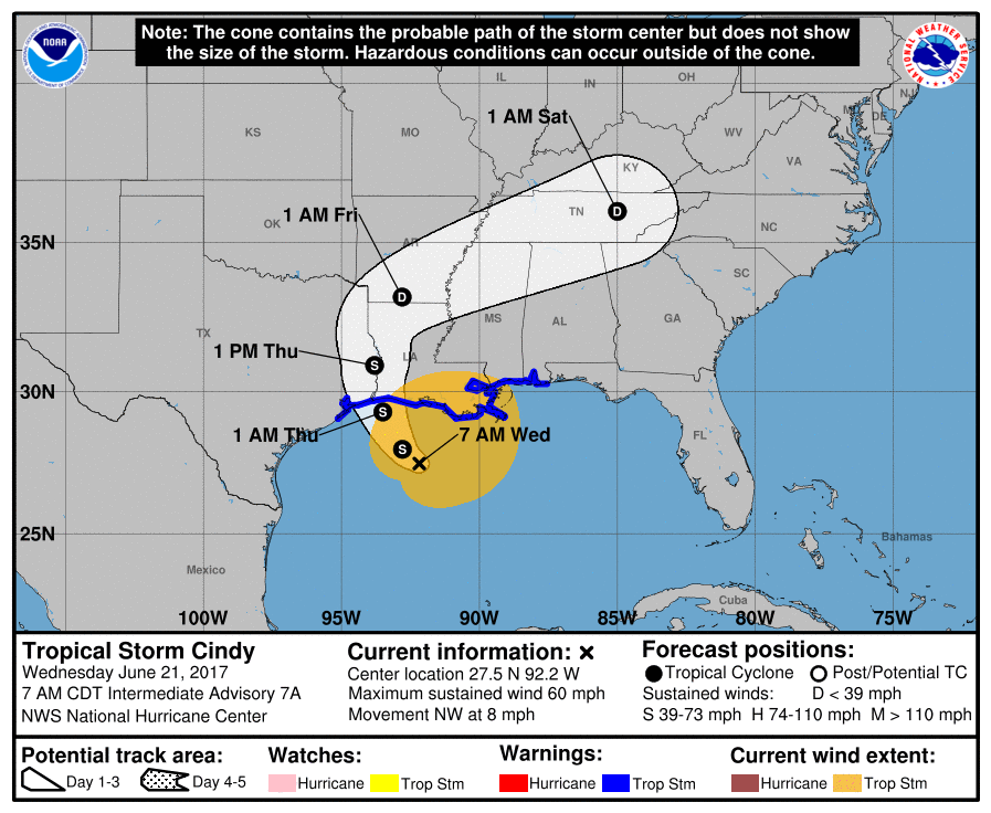 Storm Cindy expected to make landfall Thursday morning: NHC