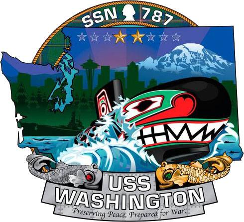 The ship's crest of the Virginia-class attack submarine USS Washington