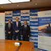 From left, Tobias Schweinfurter, President and CEO, TÜV Rheinland Japan, Dr. Michael Fübi, Chairman, TÜV Rheinland, Koichi Fujiwara, President & CEO, ClassNK  (Photo: ClassNK)