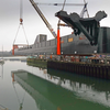 One of the pontoons being lifted into the water  (Photo: SMS)