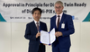 Luis Benito, LR's Marine & Offshore Innovation and Co-creation Director (right) presents the Digital Twin Ready AiP to Seung-Ho Jeon, Executive Vice President of HHI Initial Design Division. (Photo: Lloyd's Register)
