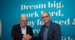 CADMATIC CEO Jukka Rantala (left) and Kymdata CEO Jyrki Metsola (right) shake hands on the acquisition agreement.  (Photo: Cadmatic)