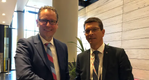 Remi Eriksen, Group President and CEO of DNV GL with KONGSBERG President and CEO Geir Håøy (Photo: Kongsberg)